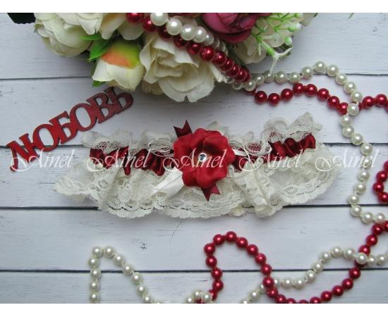 """Подвязка невесты свадебная """"Аленький цветочек"""" айвори кружево"""