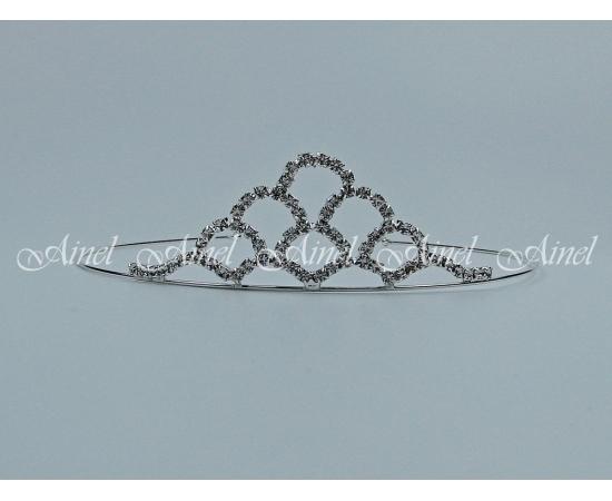 Свадебная диадема для невесты №4052 под серебро со стразами