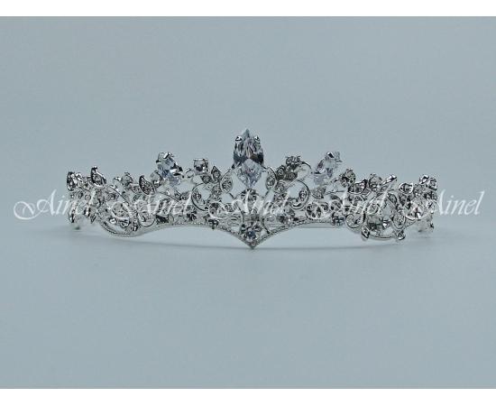 Диадема на свадьбу  №4057 под серебро со стразами
