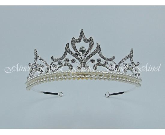 Свадебная диадема для невесты №4058 под серебро с жемчугом