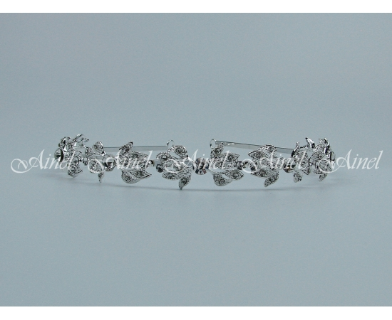 Свадебная диадема для невесты №4060 под серебро со стразами