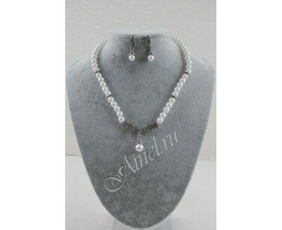 Свадебное украшение для невесты бижутерия №72 с жемчугом под серебро