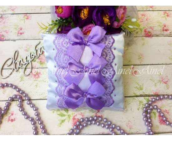 Свадебная подушечка для обручальных колец «Сиреневые бантики»