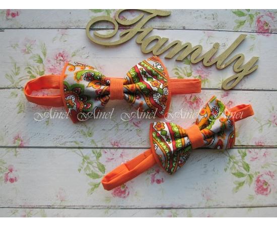 Галстук-бабочка для семейной фотосессии Family Look  №10 бабочки оранжевые