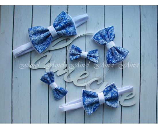Аксессуары для семейной фотосессии Family Look №11 бабочки сине-белые