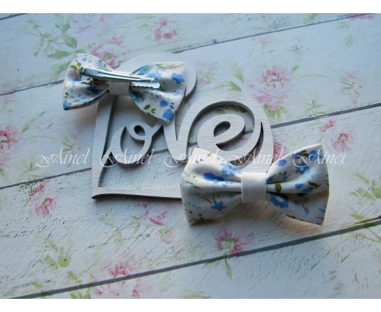 Бабочка-заколка для семейной фотосессии Family Look  №9 бабочки синие цветы