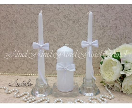 """Свадебные свечи семейный очаг """"Белая вуаль"""" ручной работы"""