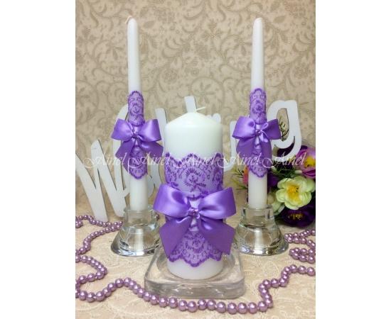 """Свадебные свечи семейный очаг """"Сиреневые бантики"""" ручной работы"""