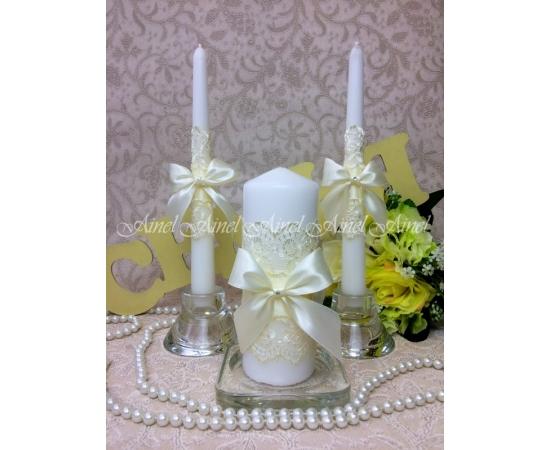 """Свадебные свечи семейный очаг """"Бантики айвори"""" ручной работы"""
