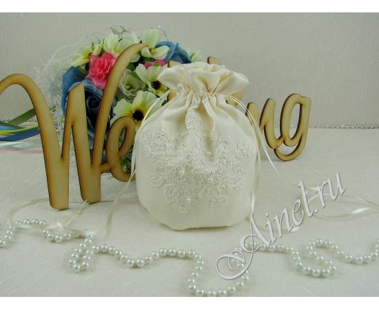 Сумочка-мешочек для невесты Неаполь айвори