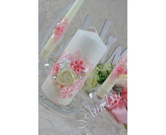 """Свадебные свечи домашний очаг """"Романтика""""  розовые ручной работы"""