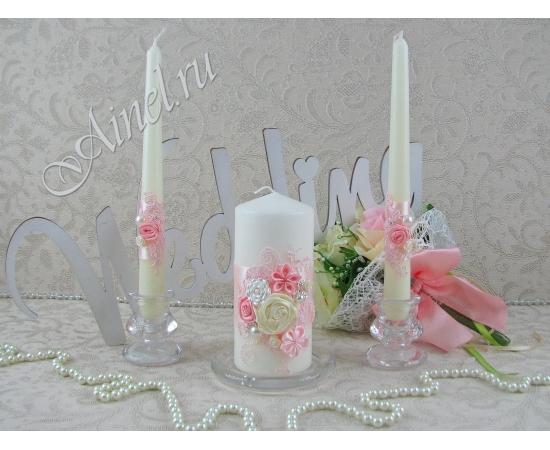 """Свадебные свечи семейный очаг """"Романтика"""" розовые ручной работы"""