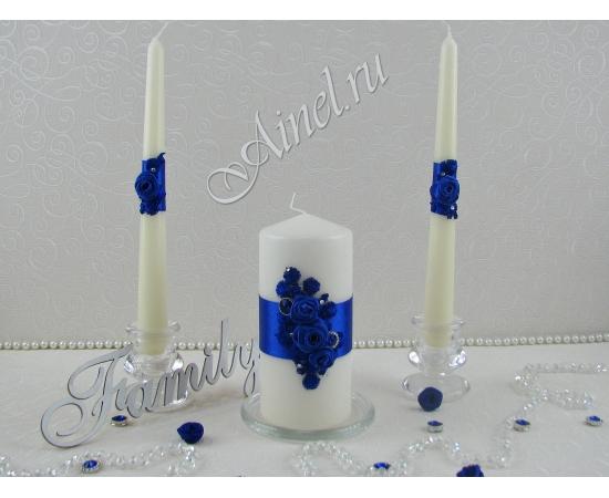 """Свадебные свечи семейный очаг """"Индиго"""" синие ручной работы"""