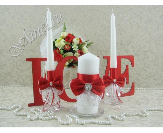 """Свадебные свечи семейный очаг """"Женева"""" красные ручной работы"""