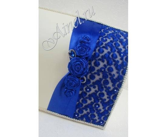 """Свадебный сундук для денег """"Индиго"""" синий ручной работы"""