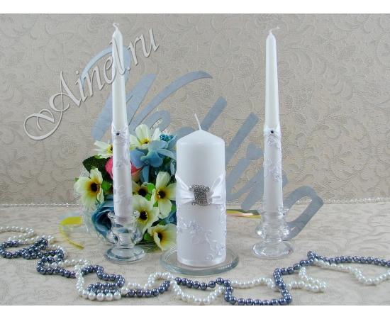 """Свадебные свечи семейный очаг """"Верона"""" белые ручной работы"""