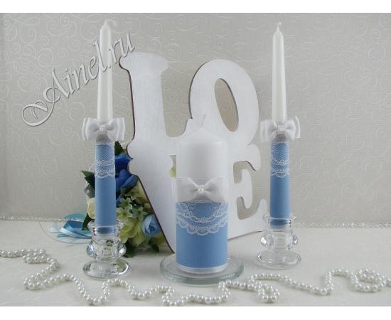 """Свадебные свечи семейный очаг """"Орлеан"""" голубые ручной работы"""