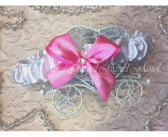 Подвязка невесты свадебная узкая белая с розовым бантом