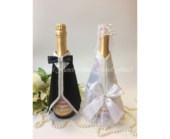 Одежда на шампанское Белый+Черный банты