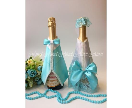 Одежда на шампанское Белый+Тиффани банты