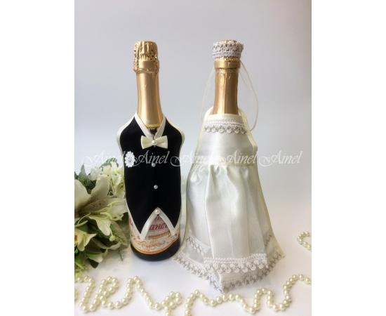 Украшение на шампанское №25 Айвори+Черный фартук