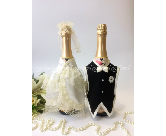 Украшение на шампанское №27 Айвори+Черный спинки