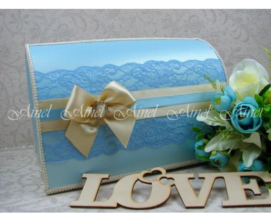 """Свадебная коробка для денег """"Голубой с золотом"""" ручной работы"""