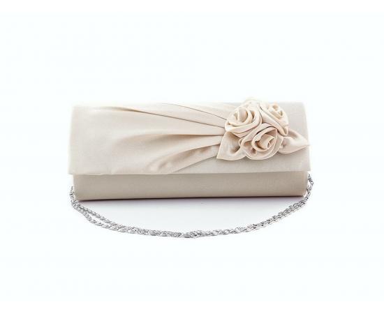 Сумочка клатч для невесты атласная с цветами айвори