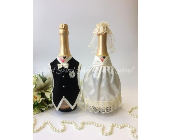 Украшение на шампанское №30 Айвори+Черный спинки