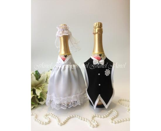 Украшение на шампанское №31 Белый+Черный спинки