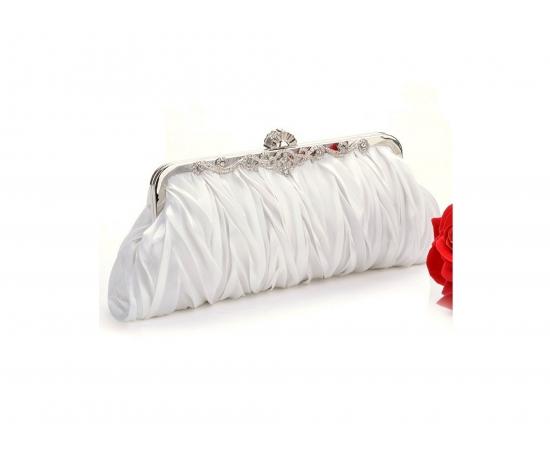 Сумочка для невесты атласная жатая молочная, ажурная застежка