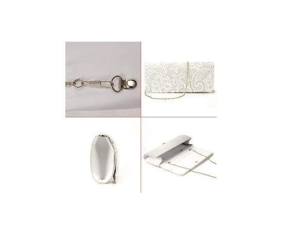 Свадебная сумочка клатч атласная с кружевом молочная