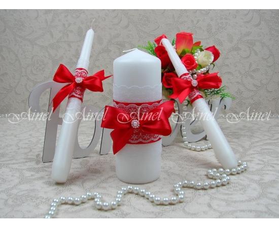 """Свадебные свечи семейный очаг """"Маркиза"""" красная ручной работы"""