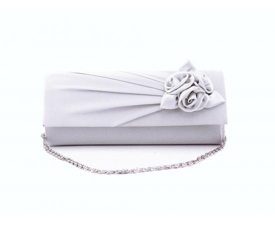 Сумочка клатч для невесты атласная с цветами белая