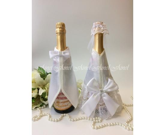 Одежда на шампанское Белый+Белый банты