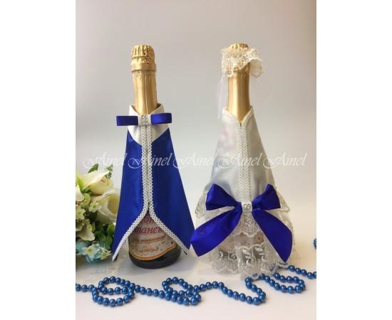Одежда на шампанское Айвори+Синие банты
