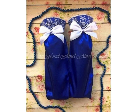 Мешочки для битья бокалов на свадьбу №9 Синие с кружевом