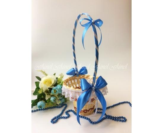 Корзина для лепестков №13 голубая, кружево, Высокая