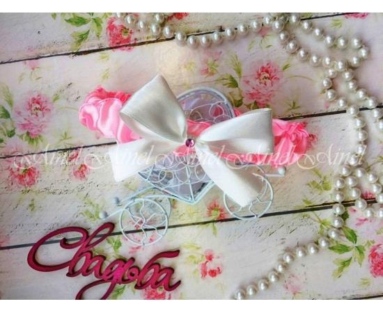 Подвязка невесты свадебная узкая бледно-розовая с белым бантом