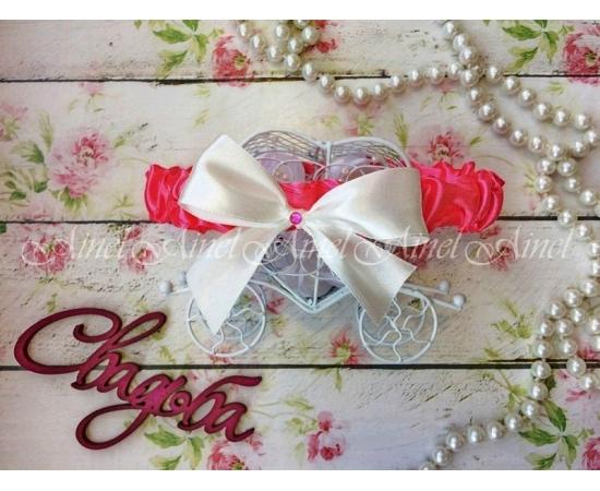 Подвязка невесты свадебная узкая ярко-розовая с белым бантом