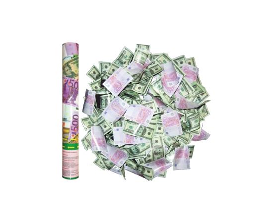 """Хлопушка бумфети на свадьбу  """"Евро+Доллары"""" 40 см"""