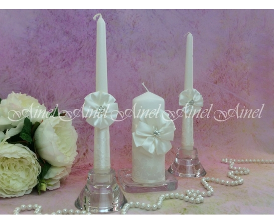 """Свадебные свечи семейный очаг """"Снежный цветок"""" белые ручной работы"""