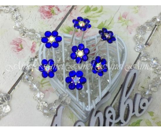 """Шпилька """"Хрустальный цветок"""" синий"""