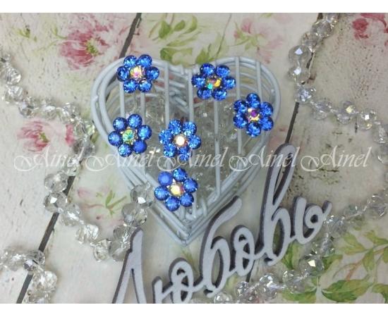 """Шпилька """"Хрустальный цветок"""" голубой"""