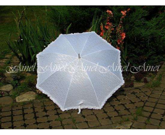 Зонт-трость №7 Белый с гипюром белым