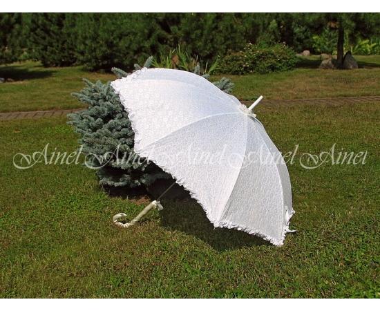 Зонт-трость №3 Белый с гипюром айвори