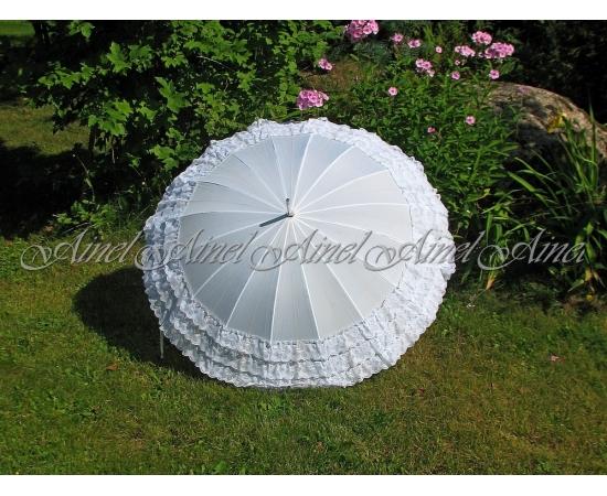 Зонт-трость №1 Белый с рюшами