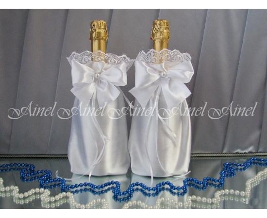 Мешочки для шампанского белые кружево капрон