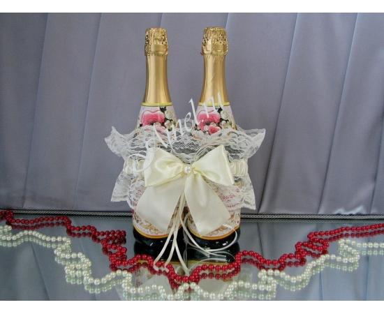 Подвязка для шампанского айвори широкое кружево