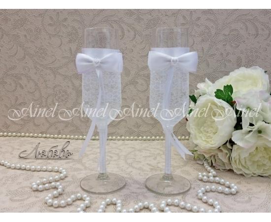 """Бокалы свадебные для молодоженов """"Белая вуаль"""""""